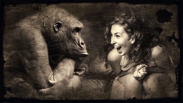 Mythos Raucherentwöhnung - trauriger Affe und freudige Frau