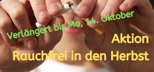 Rauchfrei im Herbst - Verlängerung der Aktion
