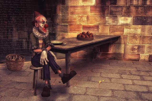 Raucherentwöhnung - trauriger Clown
