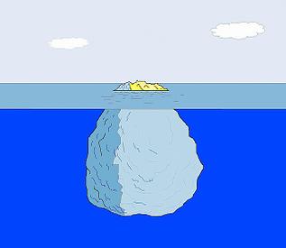 Raucherentwöhnung durch Hypnose - Bild eines Eisbergs als Modell für Bewusstsein und Unterbewusstsein
