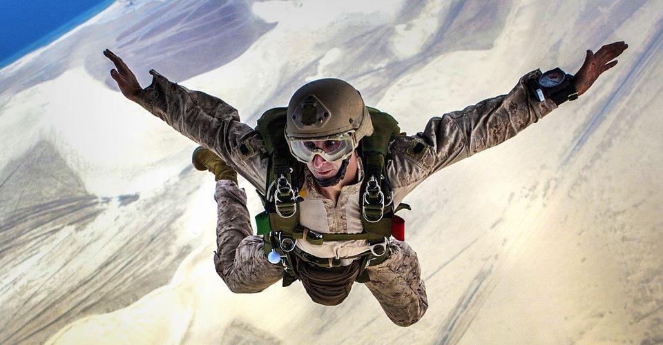Glaubenssätze als Wahrnehmungsfilter - Symbolbild Fallschirmspringer in der Luft