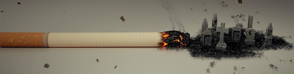 Raucherentwöhnung und Veränderungen - glühende Zigarette auf einem Tisch
