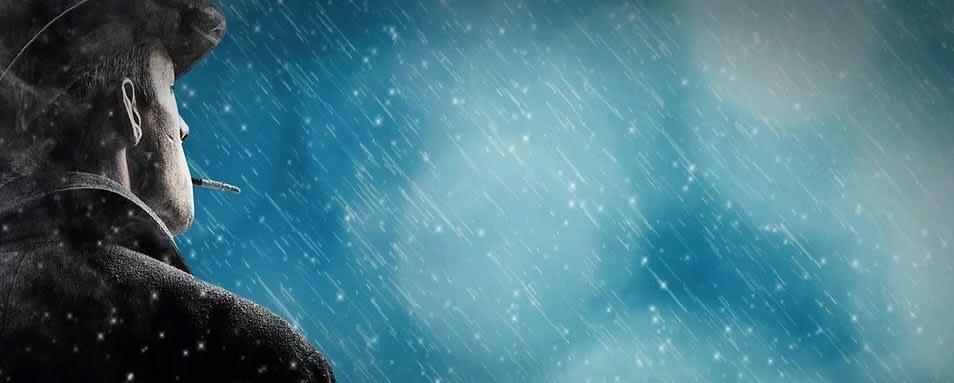 Rauchertagebuch - einsamer Raucher im Regen